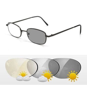 Intelligent Photochromic Bifocal Reading Glasses Metal Frame Unisex Reader Sunglasses Look Near Far Presbyopic Spectacles Gafas