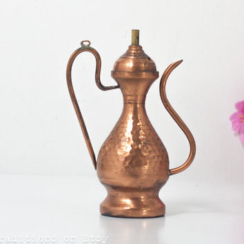 Miniature Copper Teapot / Pitcher: Oriental Teapot, Hammered Copper Pitcher / Metal Watering Can, Oriental Home Decor