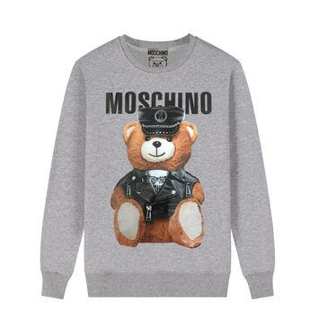 MOSCHINO casual wild soldier bear round neck cotton long-sleeved sweater