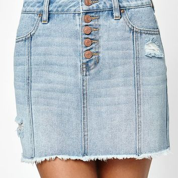 PacSun Frayed Exposed Button Skirt at PacSun.com