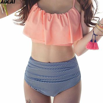 High Waist Bikini 2017 Flounced Swimwear Women Two Piece Swimsuit Striped Bathing Suits Crop Top Biquini Push Up Swim Beachwear