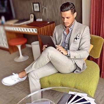 Light Gray Linen Man Suit For Beach Wedding 2 Pieces Groom Tuxedos Men Casual Prom Blazer Suits Groomsman Wear terno masculino