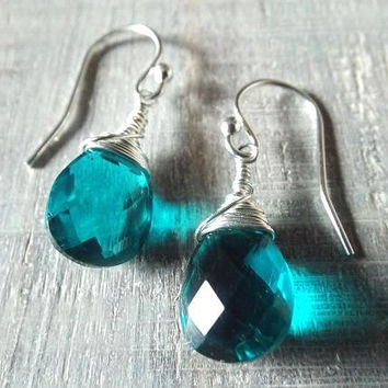 Teal Earrings, Quartz Earrings, Silver Dangle Earrings, Prom Jewelry, Easter Gift, Teal Dangle Earrings, Gift for Mom, Wire Wrap Earrings