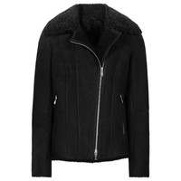 Buy Reiss Zaina Shearling Short Leather Jacket, Black | John Lewis