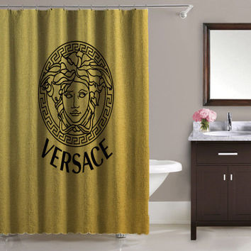 Luxury Design Versace Logo Gold Pattern High Quality Waterproof Shower Curtain