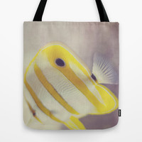 Yellow Fish Tote Bag by Melissa Lund