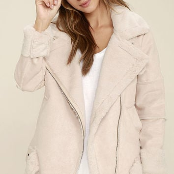 J.O.A. We Go Together Blush Pink Sherpa Coat