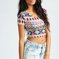 Nicki Geo Print Short Sleeve Crop Top