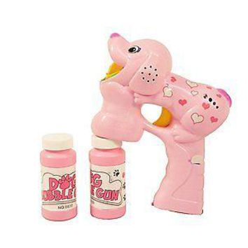 Party Favors Pink Bubble Gun Dog - Barking Musical LED with 2 Bottles of Bubbles