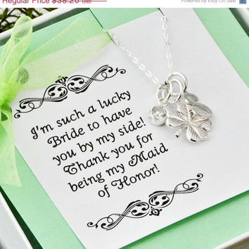 Wedding Sale Four Leaf Clover Necklace w/ gift box - Lucky Charm Necklace - Maid Of Honor Gift - Bridesmaid Gift - Personalized Necklace