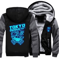 USA size Anime Tokyo Ghoul Ken Kaneki Cosplay Blue Luminous Jacket Sweatshirts Thicken Hoodie Coat