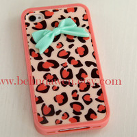 IPhone 4 case, Leopard Decal iPhone 4 Hard Case, cheetah iphone 4 case with pastel mint green bow case for iPhone 4 case