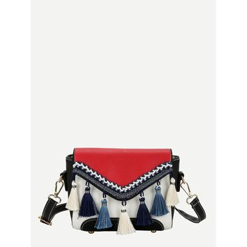 Tassel Detail Flap Shoulder Bag