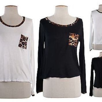 Sexy Round Neck Leopard Accent Long Sleeve Knit Cropped Top Zipper Back Shirt