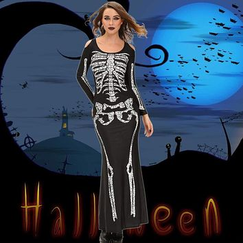 Fashion Women Costume Party Dress Skeleton Print Shoulder Cut Out Long Sleeve Floor-Length Cosplay Costume Adult Black Macchar Cosplay Catalogue
