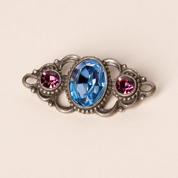 Vintage Brooch With Blue and Pink Rhinestone