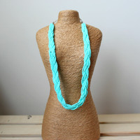 Mint Seed Bead Necklace. Braided Mint Blue Seed Bead Necklace. Multistrand Necklace.Tiffany Blue Necklace. Short Necklace. Gift for Her
