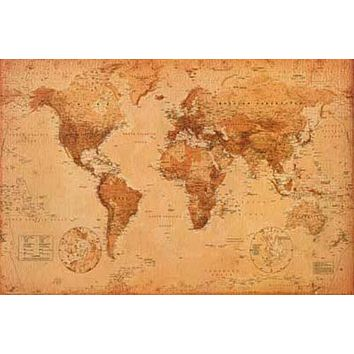 World Map Antique-Style Education Poster 24x36
