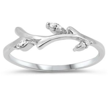 CZ and Sterling Silver Branch Ring