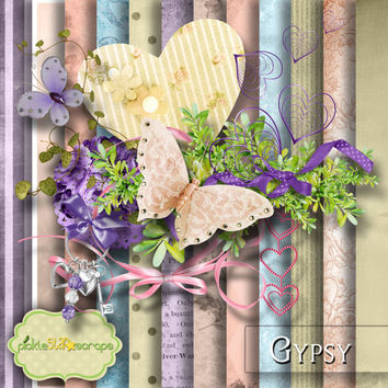 Gypsy - Digital Scrapbook Kit - Printable Backgrounds - 12x12 inch Papers - FREE Quickpage Layout