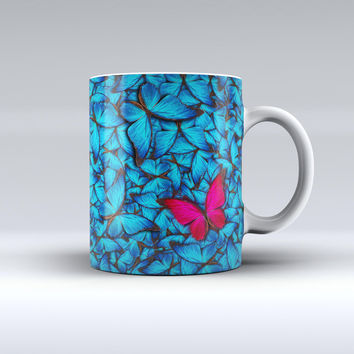 The Contrasting Butterfly ink-Fuzed Ceramic Coffee Mug