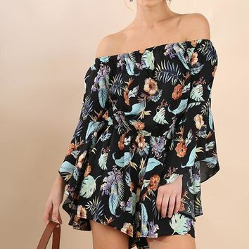 Tropical Floating Feathers Romper