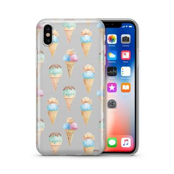 Watercolor Ice Cream - Clear TPU Case Cover
