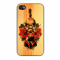 Star Wars Roses Tatto In Wood iPhone 4 Case