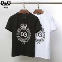 Dolce&Gabbana D&G Women Men Fashion Black White T-Shirt Top Tee
