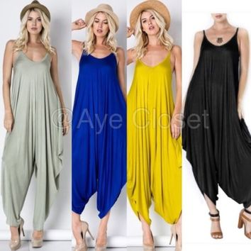 NEW Women Trend Harem Palazzo Oversized Drape Jumpsuit Romper Jumper Dress S M L