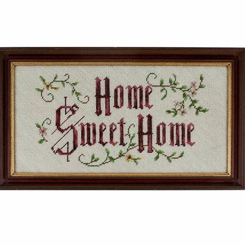 Vintage Needlepoint Home Sweet Home Wall Art Embroidery Embroidered Framed Wall Hanging Wine Maroon Pink Dusty Rose Oatmeal Thread