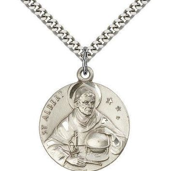 """Saint Albert The Great Medal For Men - .925 Sterling Silver Necklace On 24"""" C... 617759502138"""