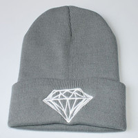Diamond Beanie Knitted Winter Warm Gray & White Cuffed Skully Hat