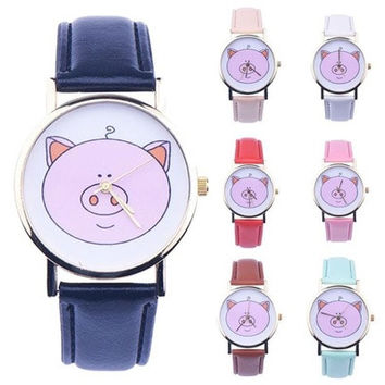Original Pig Pattern Women Leather Band Analog Quartz Vogue Wrist Watches [8322856897]
