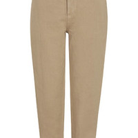 Washed Cotton High-Waisted Peg Trousers - Rust