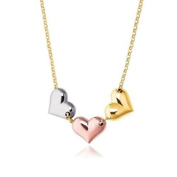 14K Tri-Color Gold Triple Heart Necklace, size 17''