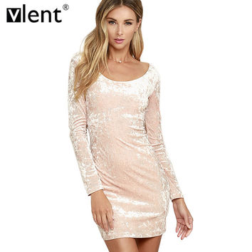 Vlent Robe Sexy Pink Velvet Spring Dress  Vintage Ladies Long Sleeve Winter Dresses Pull Femme Elegant Women Bodycon Dress