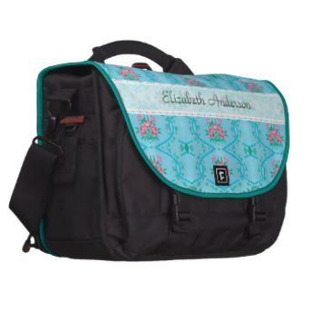 Vintage Pink and Blue Floral Wallpaper Pattern Laptop Computer Bag