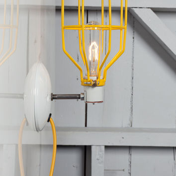 Industrial Wall Light - Yellow Wire Cage Lamp - Plug In