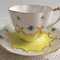 Lovely Yellow Queen Anne China Tea Cup & Saucer