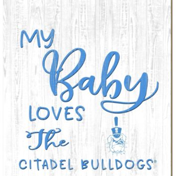 Citadel Bulldogs | My Baby Loves | Sign | Wood | Rope Hanger | NCAA