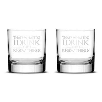 Premium Game of Thrones Whiskey Glasses, Set of 2, Thats What I Do I Drink and I Know Things