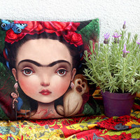 Diegito and I - art pillow | luxury velvet cushion, mexican home decor, mexican dec pillow case, house warming gift = |18X18 | by Meluseena
