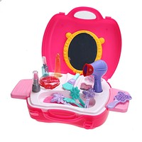 Simulation Cosmetic Case Baby Kids Girls Makeup Tool Kit Box Children Pretend Play House Toy Chic Dresser
