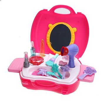 Kids Pretend Play Simulation Cosmetic Case Makeup Toy with Box Baby Play House Toy for Girls