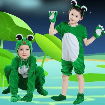 Unisex Children Stage Show Clothes Long / Short Sleeve Kids Carton Frog Cosplay Costumes Students Stage Play Performance Apparel