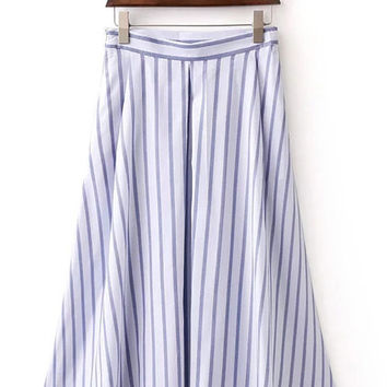 Blue Vertical Stripe Zipper Side Pleated Skirt