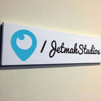 Social Media Signs: Custom Made Periscope Wood Sign, 16x4