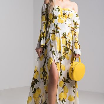 AKIRA Off Shoulder Flounce Sleeve Lemon Print Side Slit Maxi Dress in Yellow
