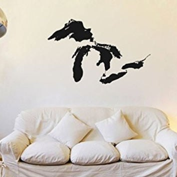 The Great Lakes Silhouette Map Vinyl Wall Decal Sticker Graphic
